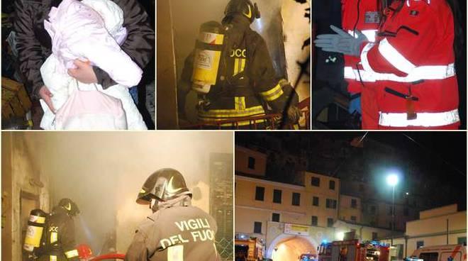 Collage Vigili del fuoco notturna incendio appartamento Secondino Muratore Carbonizzato