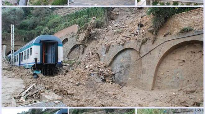 Collage treno deragliato Bordighera 2010 primo novembre Madonna Ruota (IL GIORNO DOPO)