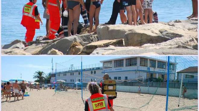 Collage Automedica 118 spiaggia mare generica