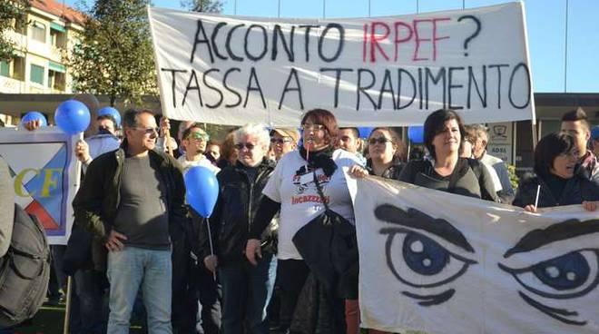 Frontalieri Sanremo corteo manifestazione Festival 2014