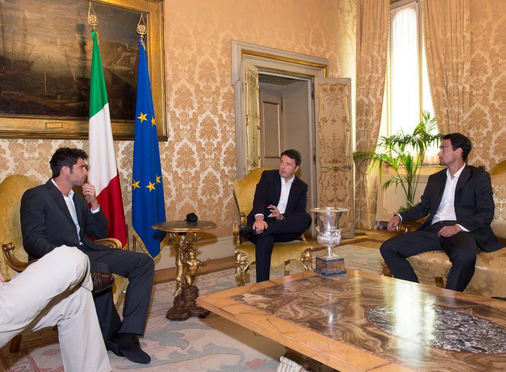 Fabio Fognini e Simone Bolelli incontrano Matteo Renzi