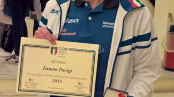 Fausto Parigi (Sanremo Runners) premiato dal CONI