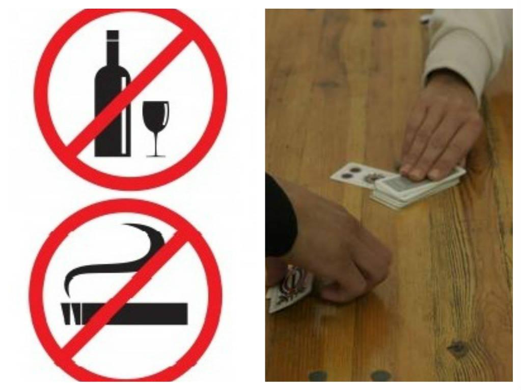 vietato divieto bere fumare carte