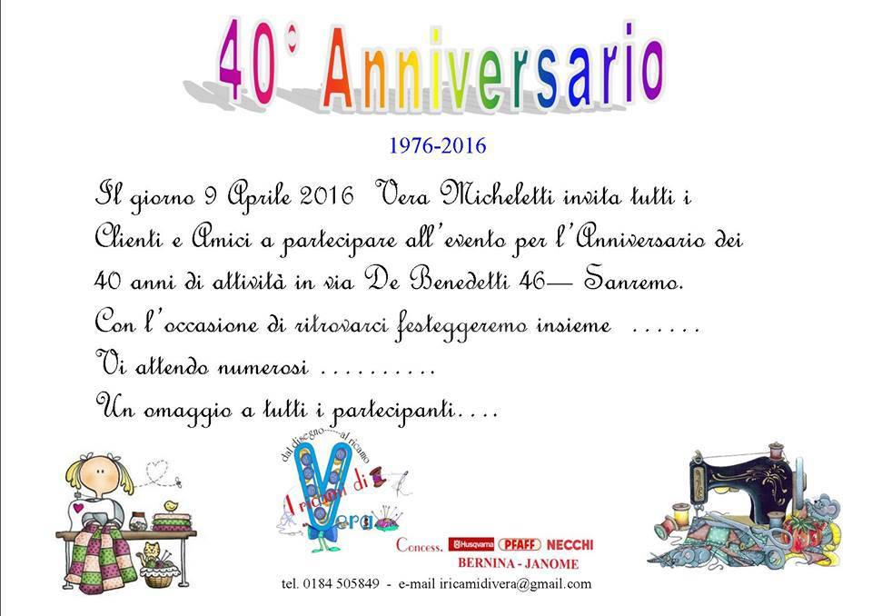 """Molto Buon Compleanno a """"I pizzi di Vera"""" per i 40 anni di attività  AC22"""