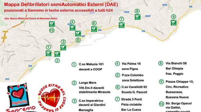 riviera24 - Cartina interattiva indicante i dieci defibrillatori