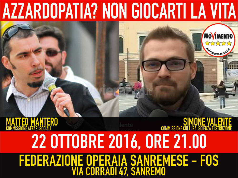 """riviera24 - """"Azzardopatia? Non giocarti la vita"""", l'incontro del M5S Sanremo"""