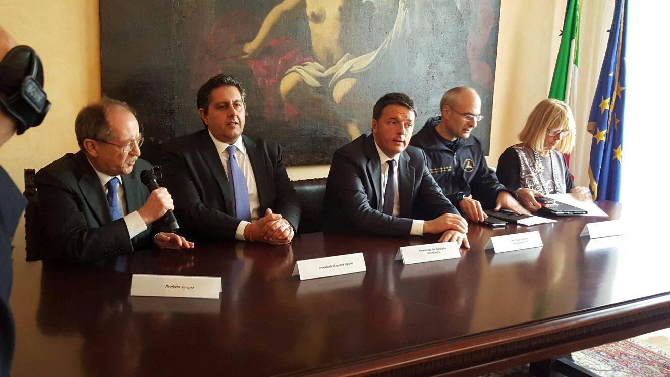 Matempo, premier Renzi incontra sindaci dell'imperiese a Savona