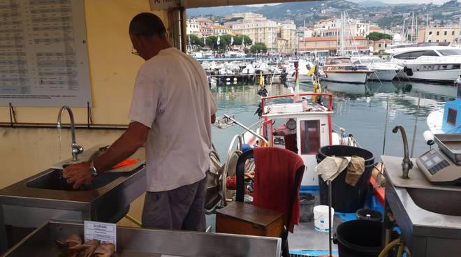 Sanremo porto vecchio pescatori mercato pesce