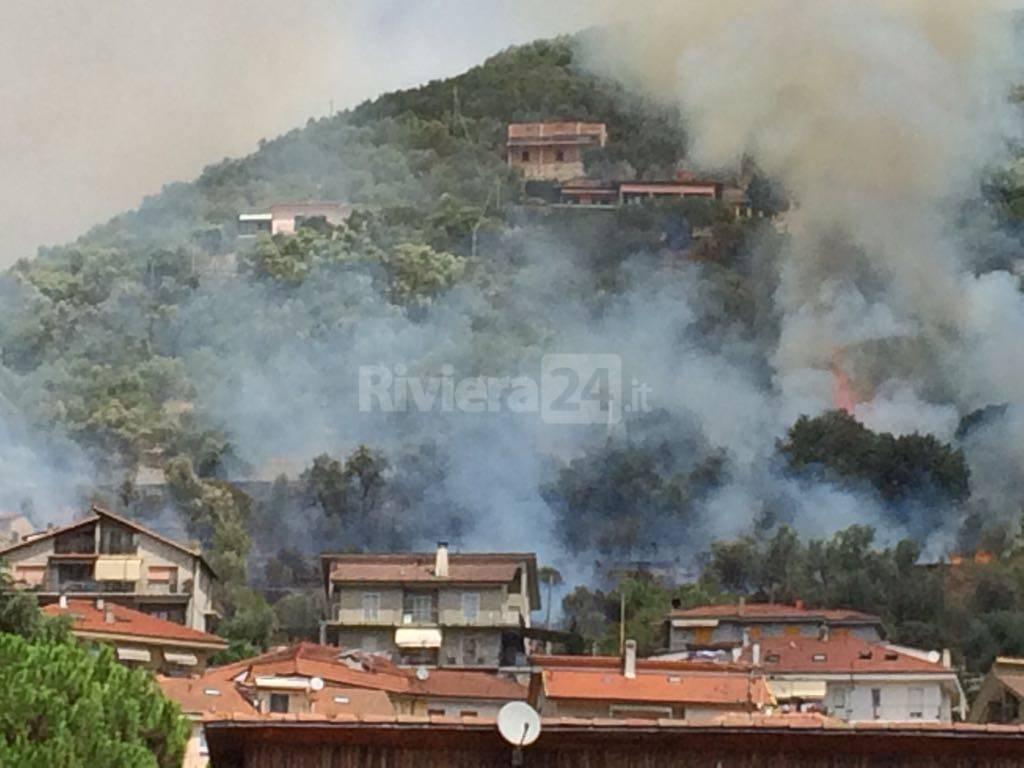 riviera24 - incendio boschivo pontedassio