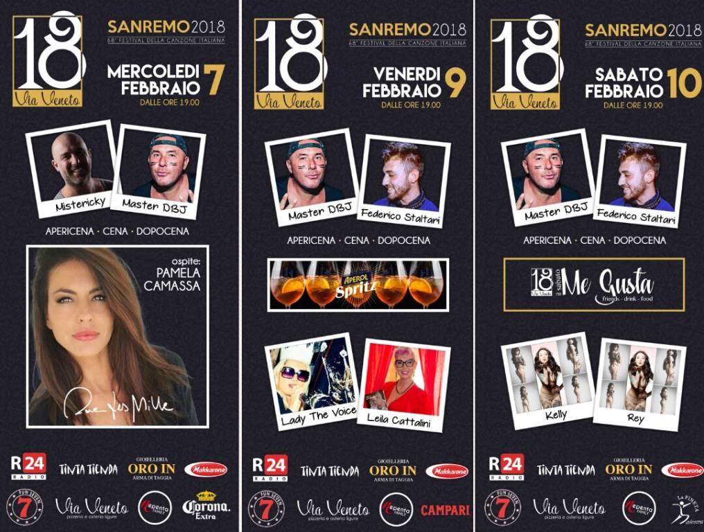"""riviera24 - Sanremo, l'atmosfera del Festiva in tre serate da """"Vai Veneto"""" Master Dbj"""