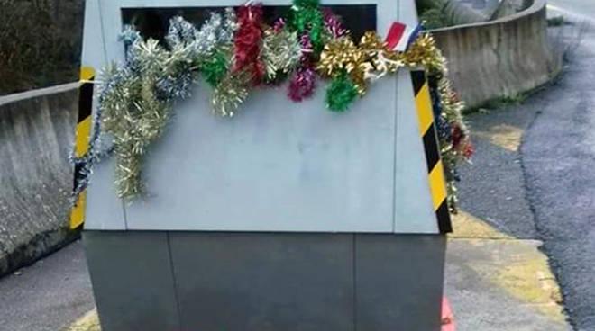 riviera24 - autovelox Alice addobbato con decorazioni natalizie