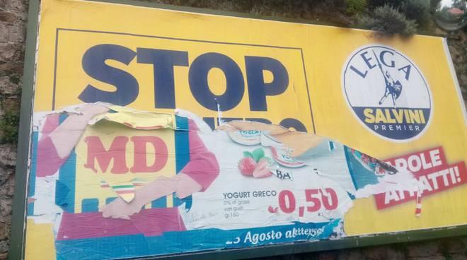riviera24 - Sanremo , vandalizzato manifesto elettorale della Lega