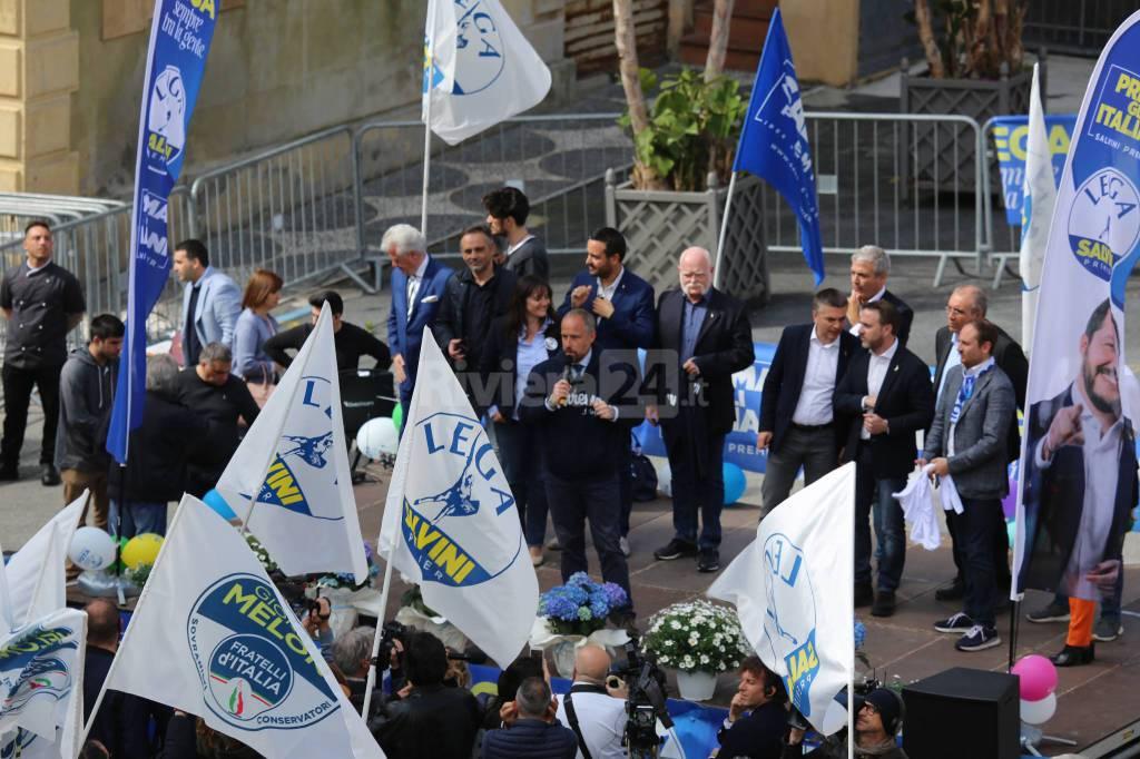 Sanremo, piazza Borea d'Olmo gremita per Matteo Salvini