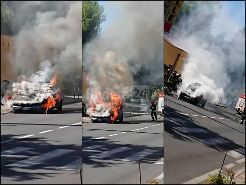Incendio auto san Bartolomeo al Mare