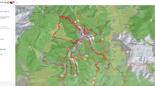 Limone mappa interattiva sentieri e percorsi per trekking e MTB