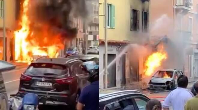 incendio auto monaco