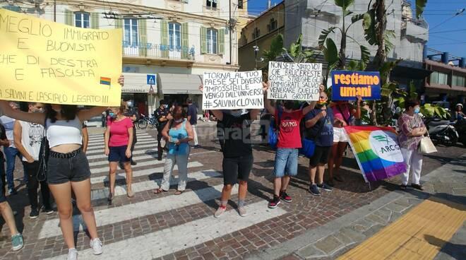 Comizio di Matteo Salvini in piazza Colombo a Sanremo