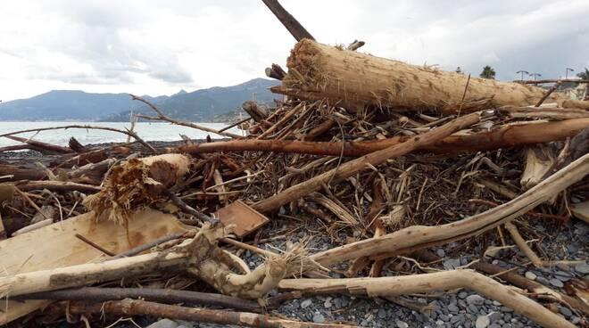 Pulizia spiagge post mareggiata Bordighera