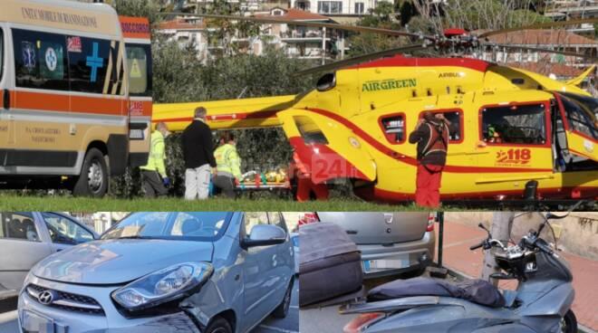 Scontro auto-moto corso Genova