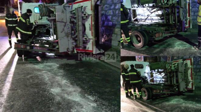 intervento furgone nettezza urbana bordighera