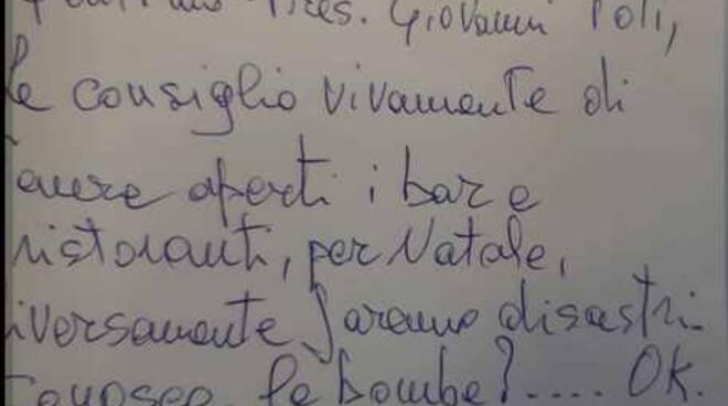 lettera minatoria toti