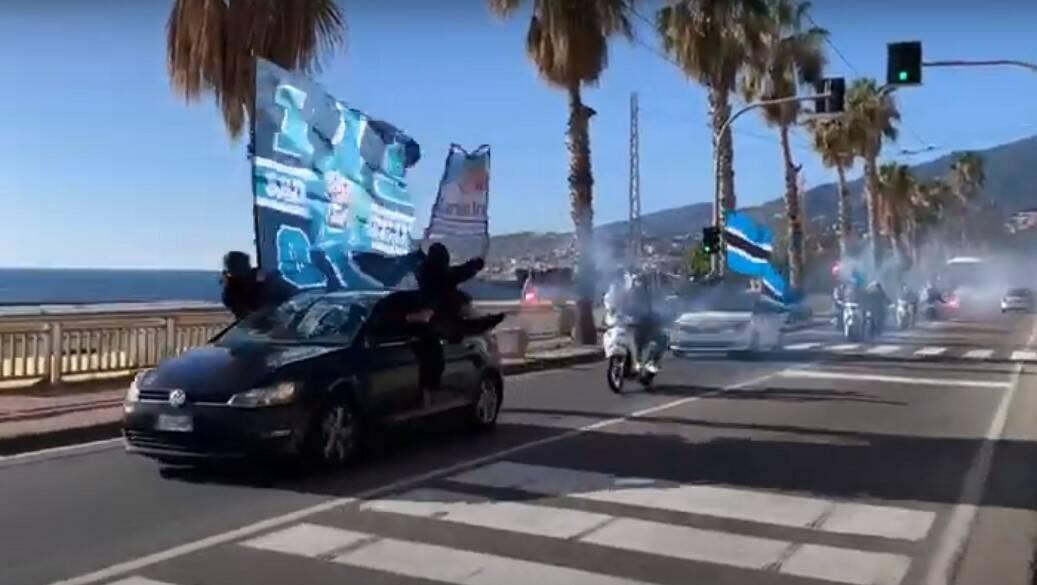 riviera24 - tifosi sanremese corteo auto moto