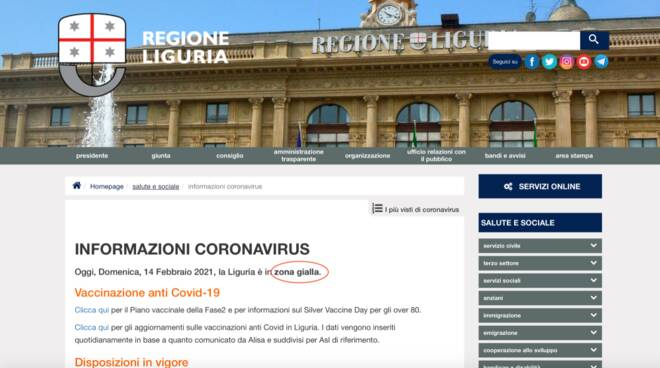 sito Regione Liguria errore