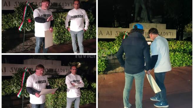 Protesta dell'attore imperiese Antonio Carli contro il coprifuoco