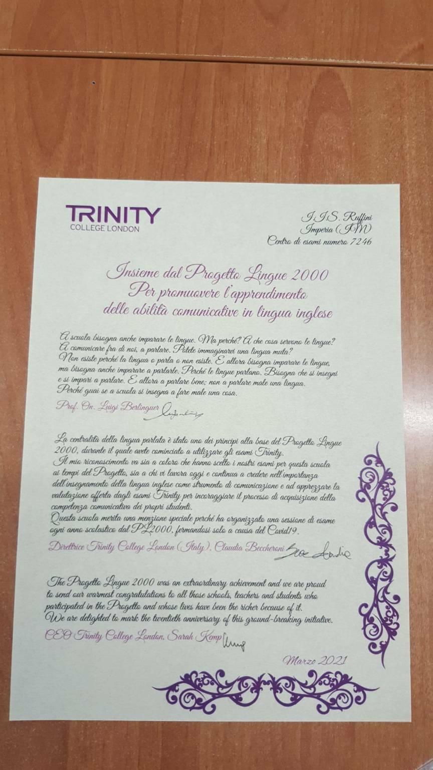Certificazione Trinity al Ruffini