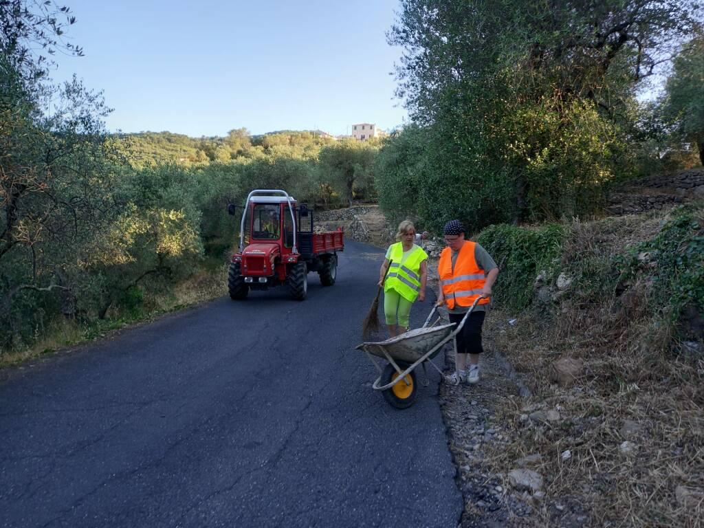Sfalcio di strada provinciale da Pontedassio a Bestagno