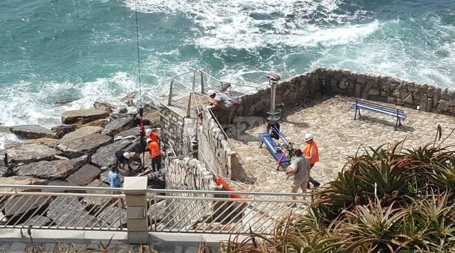 posizionamento scala accesso area marina ratteghe