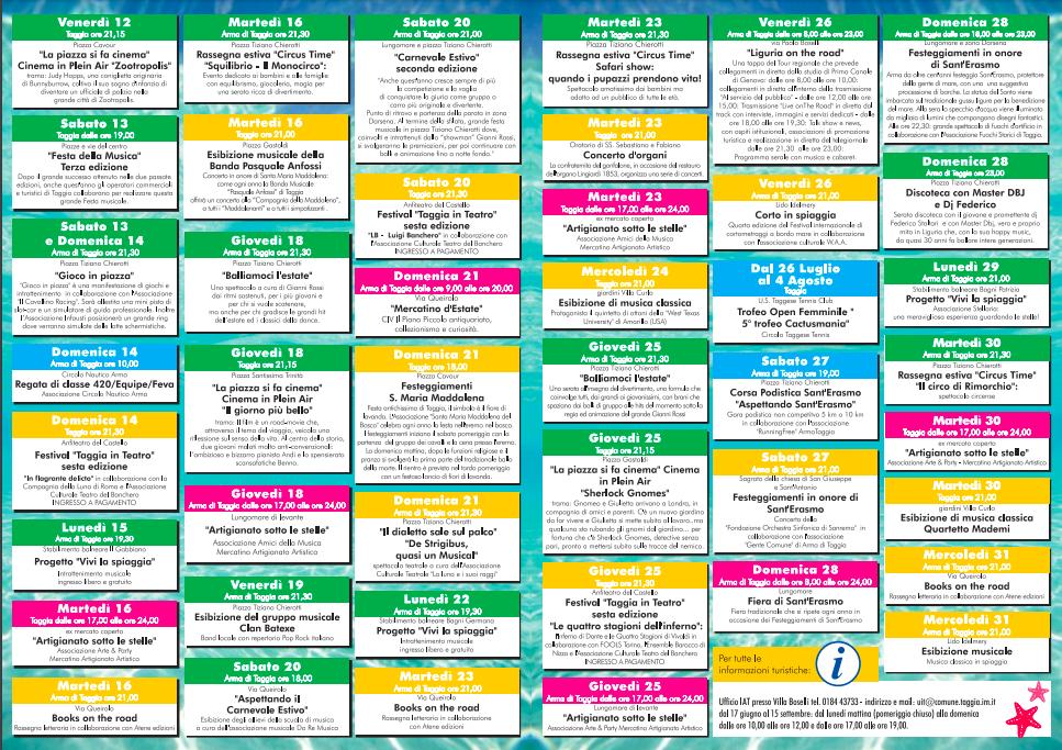 Calendario Di Luglio.Il Calendario Delle Manifestazioni Per Il Mese Di Luglio Del