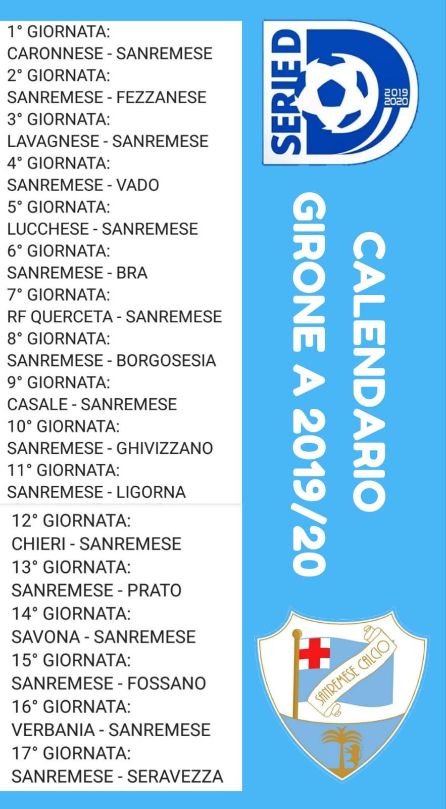 Calendario 10 Giornata Serie A.Serie D Calendario Della Stagione 2019 2020 La Sanremese