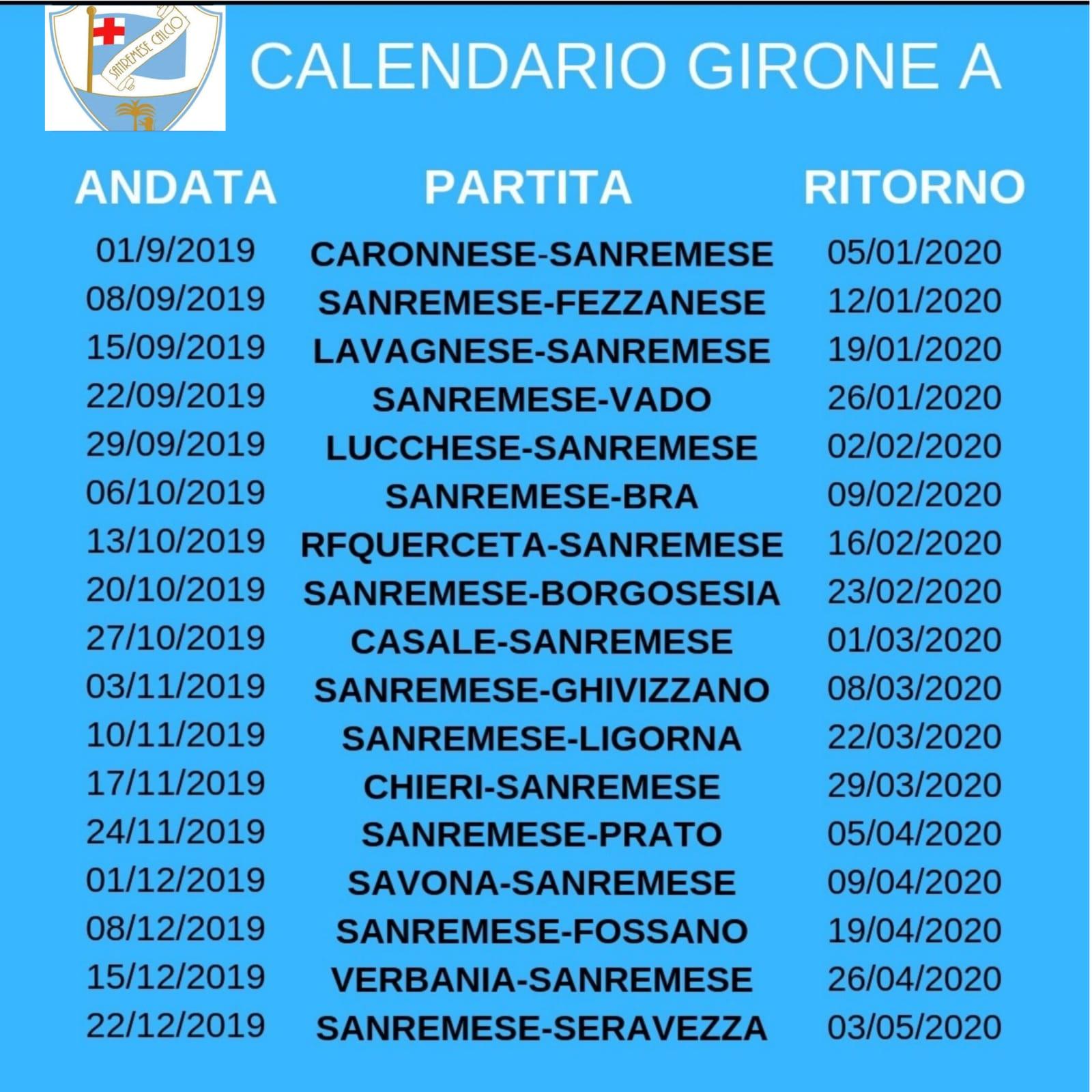Calendario Vaccini 2020.Serie D Calendario Della Stagione 2019 2020 La Sanremese