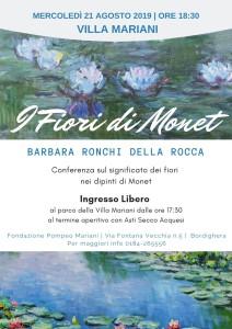 mercoledì 21 agosto Barbara Fiori Monet Villa Mariani